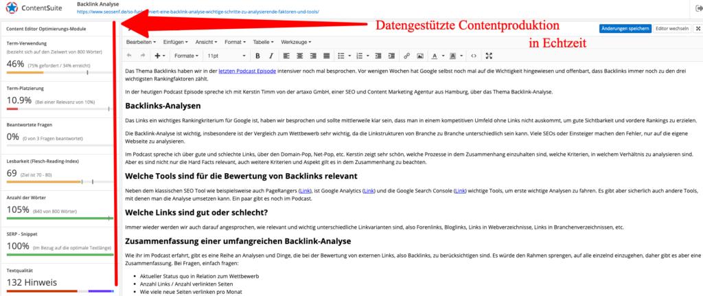 Beispiel Texterstellung mit der Content Suite von PageRangers